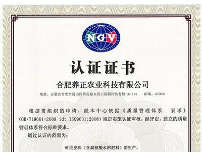 ISO9001质量体系认证证书(中文)